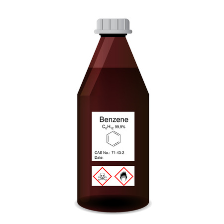 synthesis: Bottle with chemical toxic and flammable solvent - benzene reagent, 3d illustration, isolated on white background, vector, eps 10 Illustration