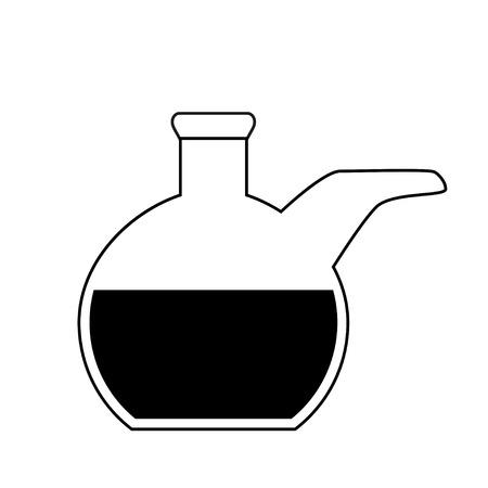 retort: Flat bottom chemical retort on white background - laboratory glassware, isolated on white background; 2d illustration, vector, eps 8