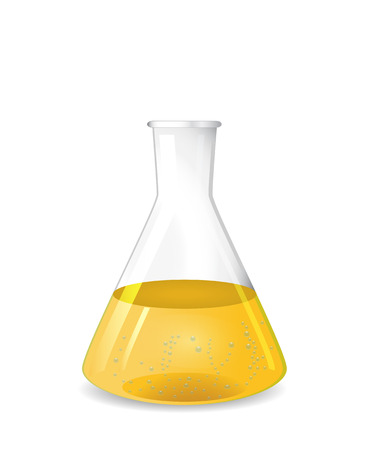 Conical flask with chemical colored solution and  bubbles, 3d illustration, isolated on white background