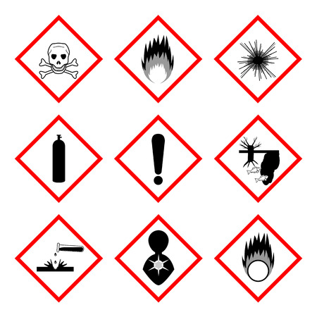 Warning labels of chemicals - icon set, 2d illustration, isolated on white background Vector
