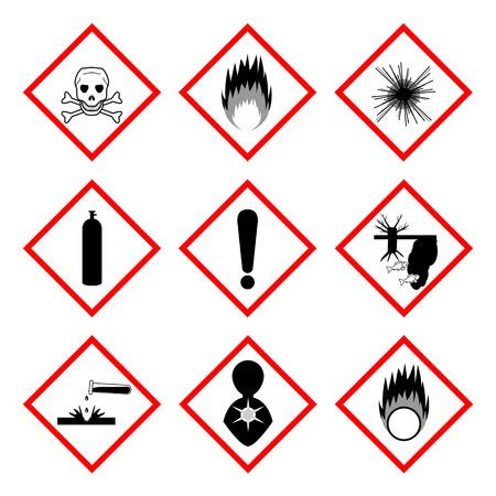 oxidant: Warning labels of chemicals - icon set, 2d illustration, isolated on white background Illustration
