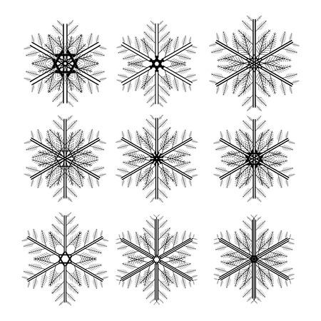 Icon set of snowflakes, 2d illustration, isolated on white background