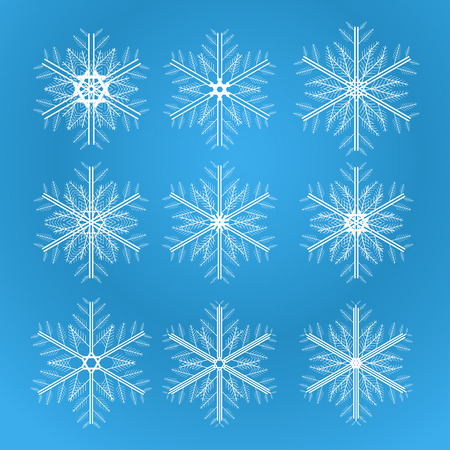 Icon set of snowflakes, 2d illustration on gradient background Vector