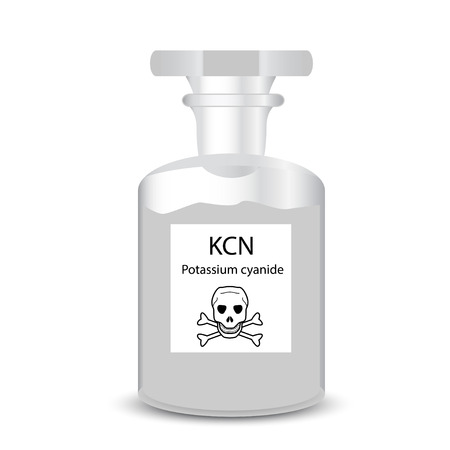 granular: Chemical container with toxic substance granular potassium cyanide Illustration