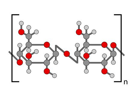 celulosa: Fórmula química estructural de polímero de celulosa Vectores