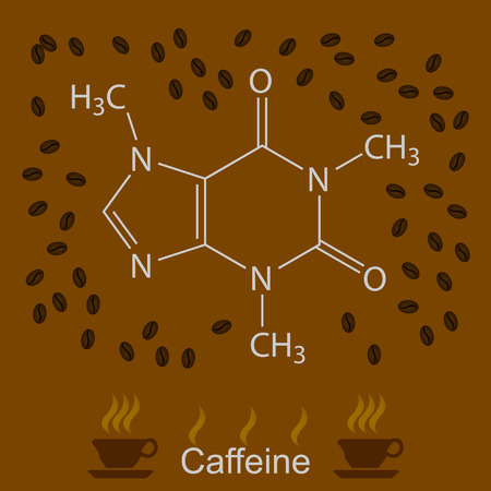 Chemical formula of caffeine with coffee beans and cups of coffee, 2d illustration, vector, eps10