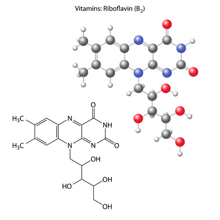 b1: Riboflavin molecule - vitamin b1, structural chemical formula and model, 3d illustration, isolated on white background, balls & sticks, vector, eps 8 Illustration