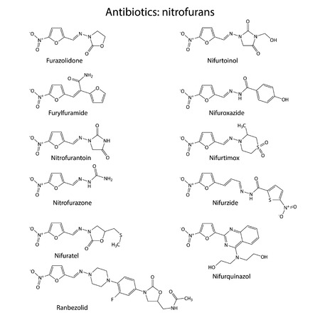 bactericidal: Nitrofurans - chemical structures of antibiotics, skeletal style 2d illustration, vector, eps 8