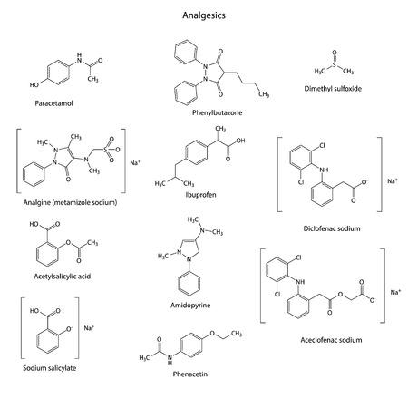 salicylate: Analgesics drugs chemical set - skeletal structures: paracetamol, analgine, acetylsalicylate, salicylate, phenylbutazone, ibuprofen, amidopyrine, phenacetin, dimethyl sulfoxide, diclofenac, aceclofenac - vector, eps 8