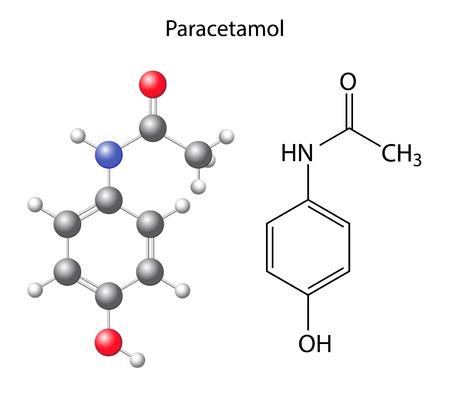analgesic: Paracetamol - structural chemical formula of the analgesic, 3d & 2d illustration on white background, balls & sticks, skeletal style, vector, eps 8 Illustration