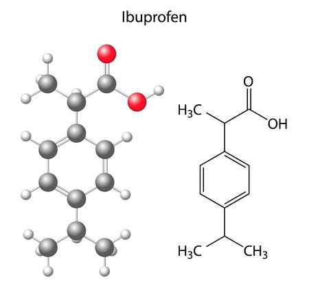 structural formula: Model of ibuprofen - structural chemical formula of analgesic, 3d & 2d illustration on white background, balls & sticks, skeletal style, vector, eps 8 Illustration