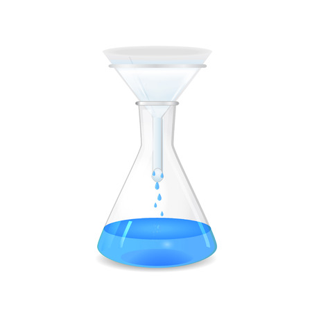 filtration: Filtration of solution in a conical flask - lab glassware, 3d, isolated on white background, vector, eps10