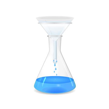 filtraci�n: La filtraci�n de la soluci�n en un matraz c�nico - cristaler�a de laboratorio, 3d, aislado en fondo blanco, vector, eps10