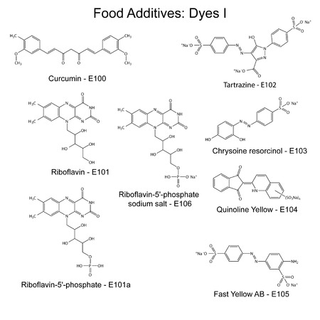 supplementation: Food dyes - structural chemical formulas of food additives, first set E100-E106, 2d illustration on a white background, vector, eps 8