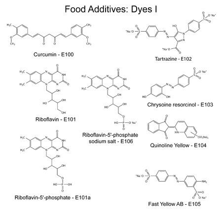 Lebensmittelfarben - chemische Strukturformeln von Lebensmittelzusatzstoffen, erste Reihe E100-E106, 2D-Darstellung auf weißem Hintergrund, Vektor, eps 8 Standard-Bild - 32948166