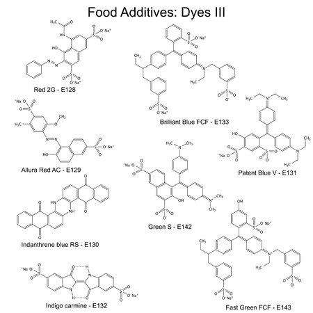 Food dyes - structural chemical formulas of food additives, third set E128-E143, 2d illustration on a white background, vector, eps 8