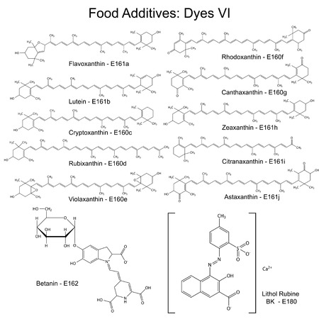 supplementation: Food dyes - structural chemical formulas of food additives, sixth set E161a-160j, E162, E180, 2d illustration on a white background, vector, eps 8 Illustration