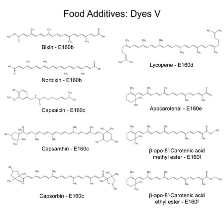 Food dyes - structural chemical formulas of food additives, fifth set E160b-160f, 2d illustration on a white background, vector, eps 8