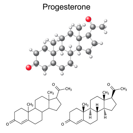 Structural chemical formulas and model of progesterone molecule, 2D & 3D Illustration,  isolated on white background, vector, eps8 Illustration