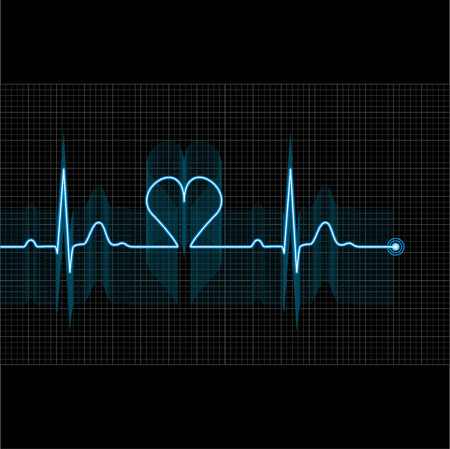 Illustration of medical electrocardiogram - ECG on grid, graph of heart rhythm on black background, 2d illustration, vector, eps 10 Çizim