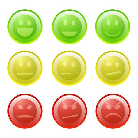 Smiles icon set on white background, vector, eps10