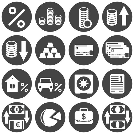 house clearance: Banking icon set on white background, vector, eps 8