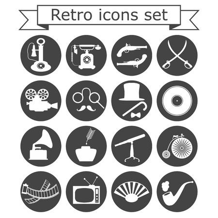Retro icons set on white background, vector, esp 8