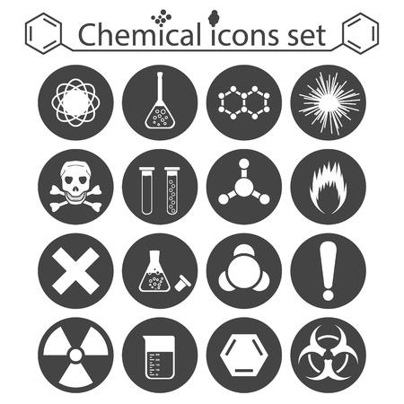 riesgo quimico: Iconos químicos establecidos en el fondo blanco, ilustración 2d, vector, esp 8