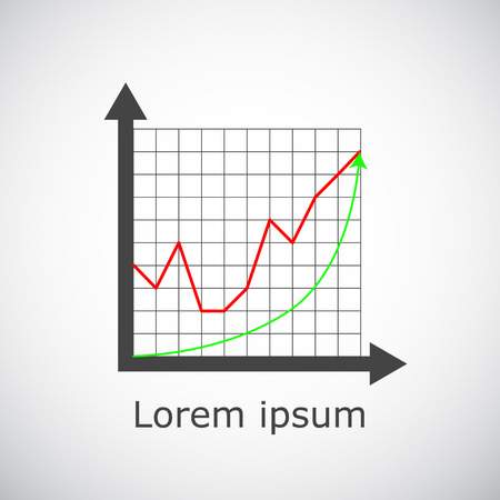 Growth chart on grid and gradient background, 2d illustration, vector, eps 8 Illustration