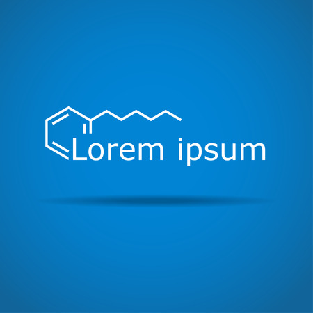 Stylized chemical title on gradient background, 2d illustration, vector Illustration