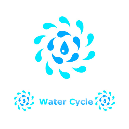 water cycle: Water cycle concept illustration on white background, 2d, vector, eps 8
