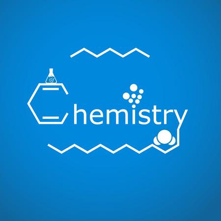 Betűsora kémia gradiens kék háttér, 2d illusztráció, vektor, EPS 8