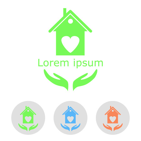 Concept of a cozy home with sample text and icons, 2d, vector, eps 8