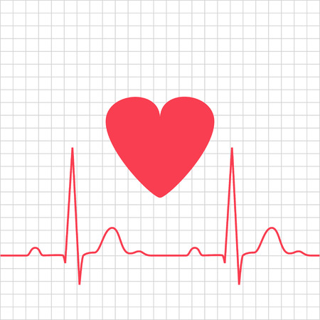 systole: ECG - electrocardiogram with heart on grid, 2d illustration, vector, eps 8