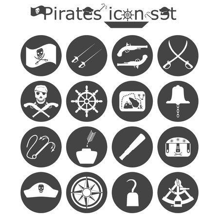grappling: Pirates icon set, monochrome 2d illustration