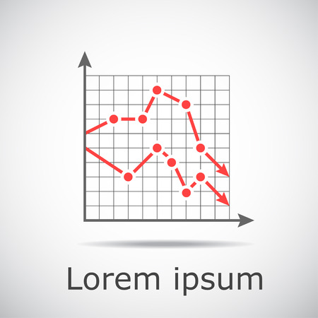 decline in values: Drop chart with two graphs on grid and gradient background, 2d illustration