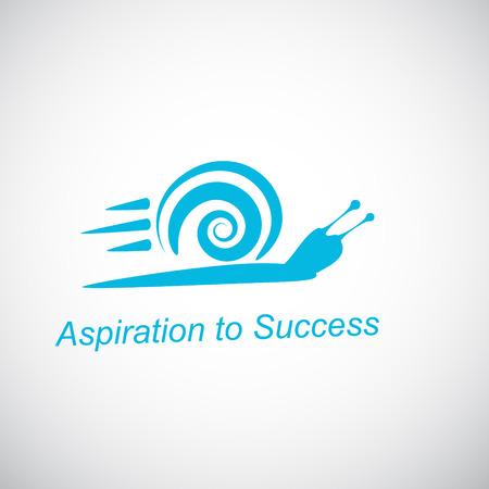 迅速なカタツムリ - グラデーションの背景上の成功を達成するための概念、2 d イラスト、ベクトル eps 8