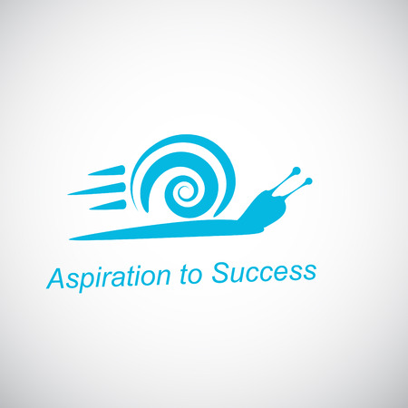 Speedy snail - concept of achieving success on gradient background, 2d illustration, vector eps 8