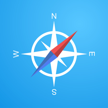 gps map: Simple compass icon, 2d flat illustration