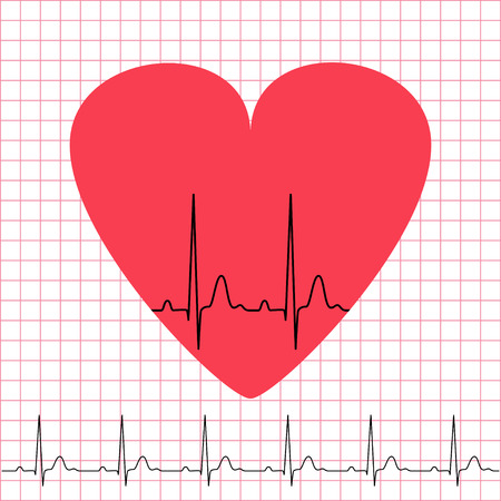 cordial: Heart icon with electrocardiogram on grid background, 2d illustration