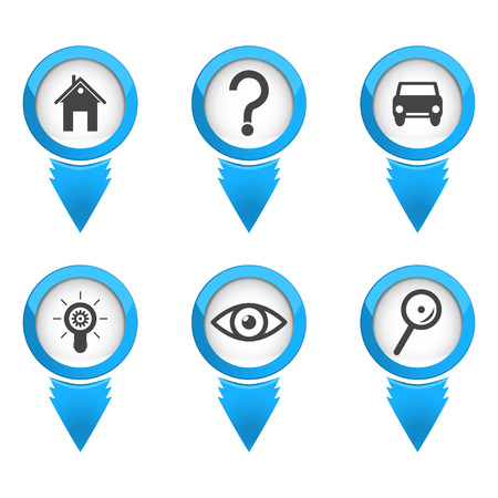 Map pointers with icons on white background, 3d illustration Vector