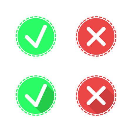 Check mark icons on white background, 2d flat  illustration