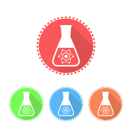 synthesis: Simple icons of conical flask, 2d flat illustration Illustration