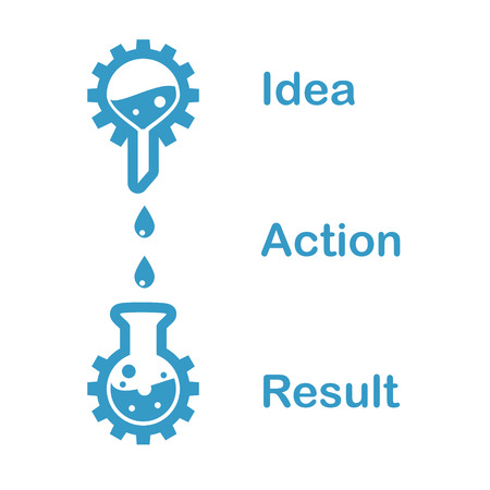 Concept of a chain of idea, action, result, 2d flat illustration Illustration