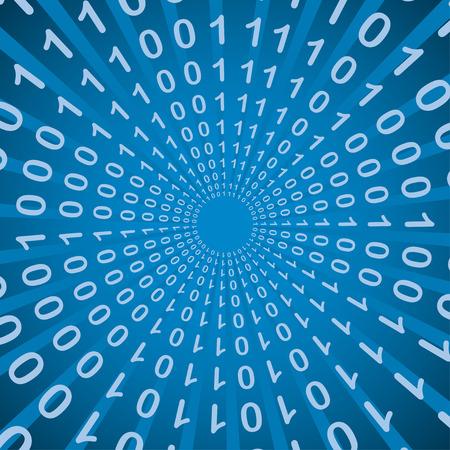 Bináris kód bang, radiális mintázat, 2d illusztráció, vektor, EPS 8