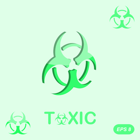 toxicology: Toxic sign on green background, 2d and 3d illustration Illustration
