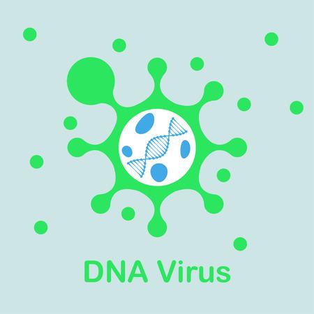 DNA virus icon, 2d flat illustration, vector, eps 8 Illustration