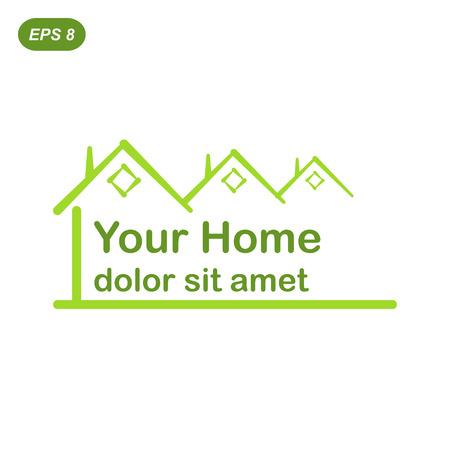 Az Ön zöld otthon logo koncepció, 2d lapos illusztráció Illusztráció