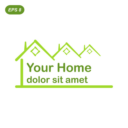 home construction: Your green home logo conception, 2d flat illustration