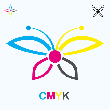 polygraph: CMYK icon in shape of a butterfly, 2d illustration, vector, eps 8 Illustration